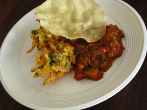 what a meal: chickpea & eggplant curry with onion bhaji