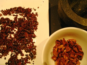 bits of roasted cacao nibs separated from their husks