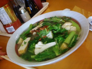 the vegetarian option, my first introduction to pho, which is also very moreish