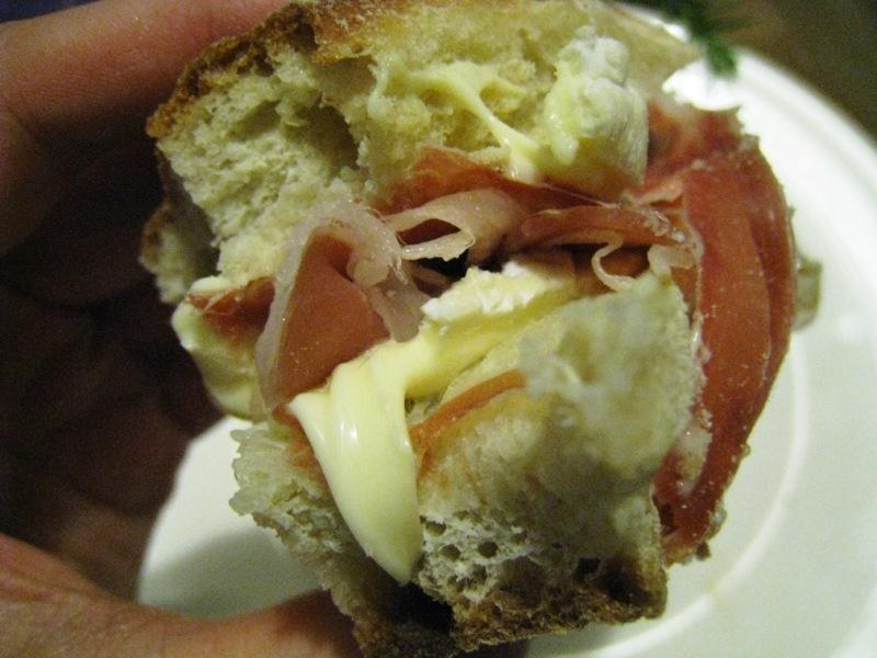 my fabulous jamon serrano and la buche d'affinois ciabatta roll