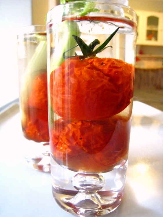 roast tomatoes in vodka