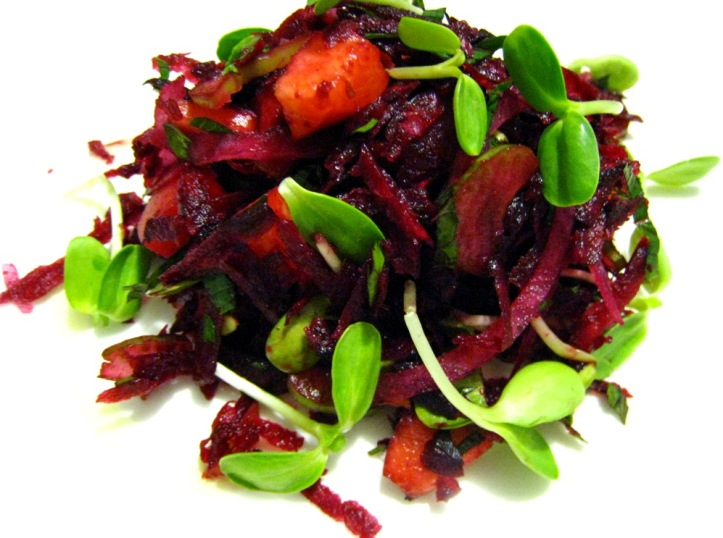 my dinner: beetroot & peach salad