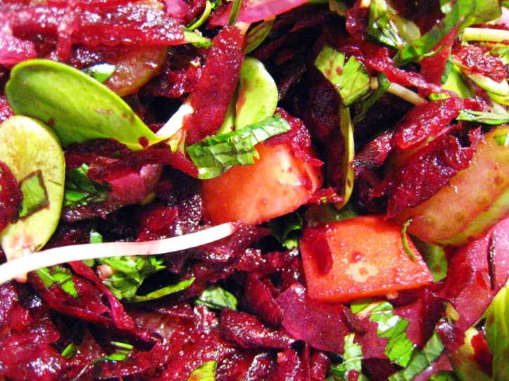 beetroot and peach salad, freshly tossed