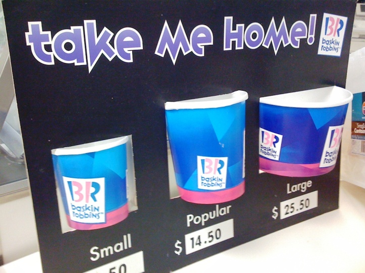 the ever-popular popular size from Baskin Robbins