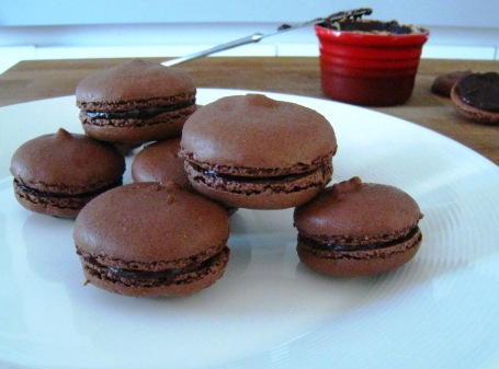 a plate of delicious dark chocolate macaroons/macarons