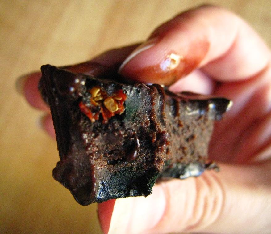one of the goji-spirulina chocolates