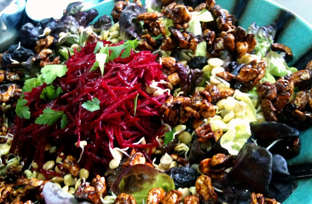 spicy cashew, beetroot and raisin salad