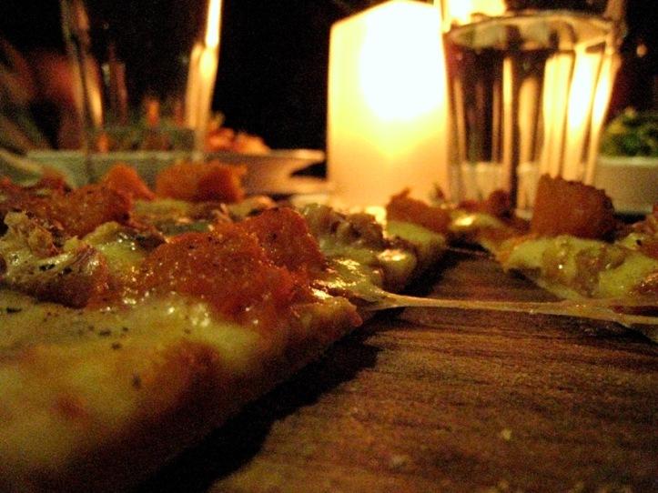 Cafe Carlotta's fabulous pumpkin, walnut & blue cheese pizza