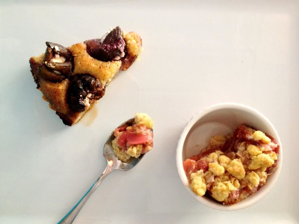 fig tart and apple, rhubarb & pear crumble cake